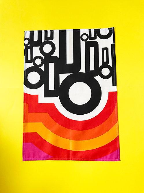 Retro Sixties Print Tea towel