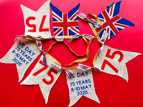 VE DAY Bunting 75 years 10% of all sales go to SSAFA