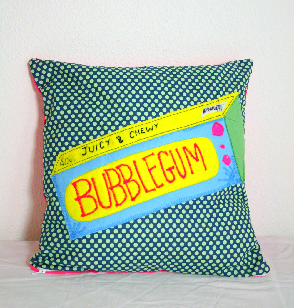 Hand sewn appliqued BubbleGum cushion £20