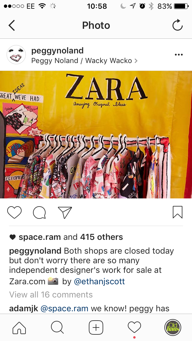 Peggy Noland's Instagram post re: Zara @peggynoland