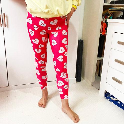 Patterned Leggings Valentines Loveheart Pink Leggings