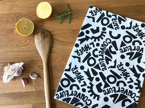 Black and White Tea Towel Abstract