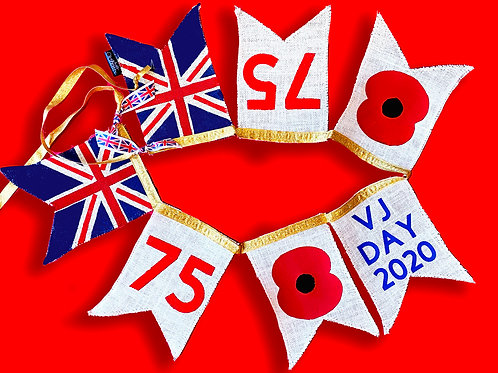 VJ Day Bunting 75 years WW2 End of the War  10% of all sales go to SSAFA