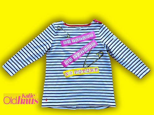 Joules Breton Top Upcycled customised No Future Sex Pistols style