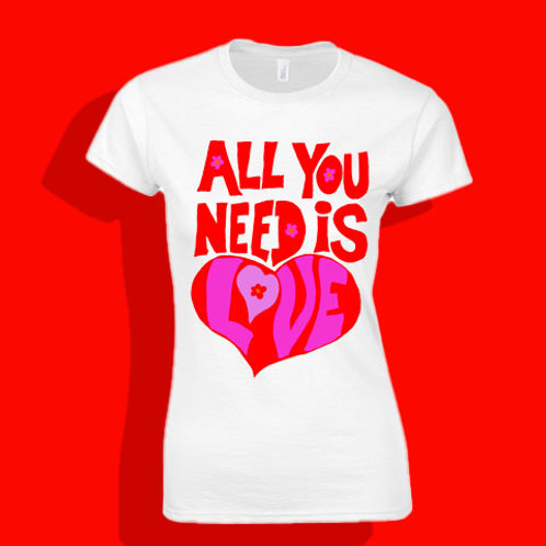 Beatles All You need Is Love Fitted Ladies T shirt