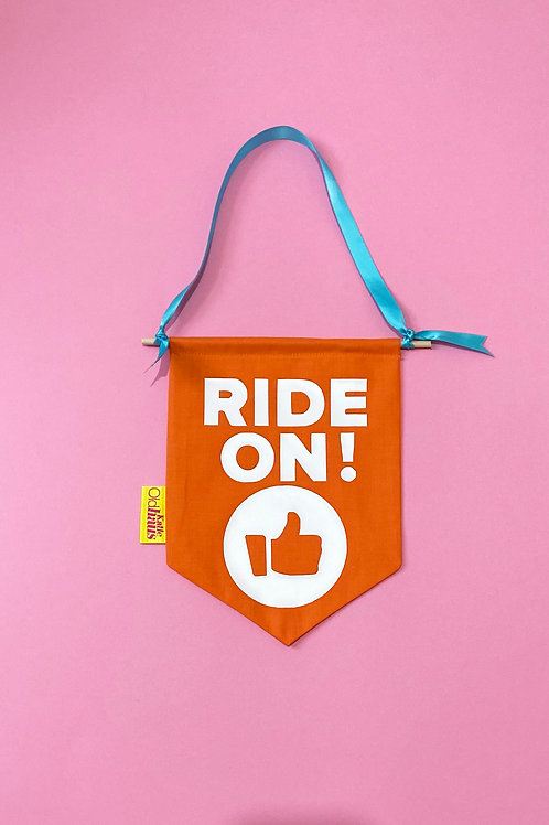 Cycling Pain Cave Wall Banner Ride On! Decoration