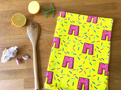 Yellow Tea Towel Dish Cloth 80's Retro Print