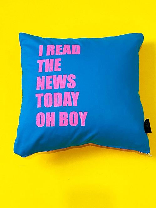 Beatles Lyrics Cushion 'I read the news today' handmade to order