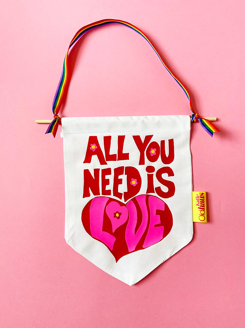 All You Need Is Love Beatles inspired Wall Banner