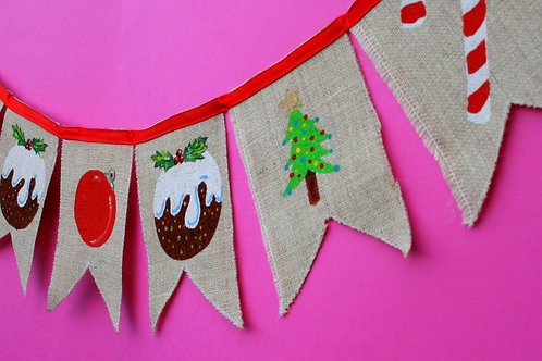 Christmas Decoration Pudding Holly Tree Christmas Bunting Garland