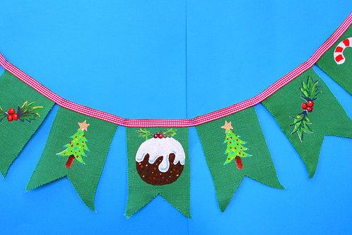 Christmas Decor Pudding Green Hessian Christmas Bunting Garland