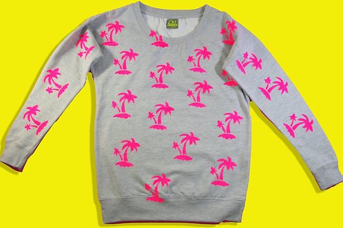 Pink Palm Trees Island Tropical 80's style Sweatshirt Jumper Handprinted