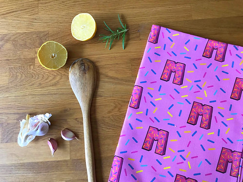Pink Tea Towel Dish Cloth 80's Retro Print