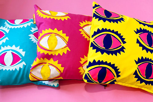 Eye Abstract Printed Cushion in yellow, pink or turquoise print