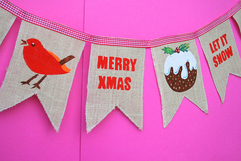 Christmas Decoration Robin Burlap Natural Christmas Bunting/Garland