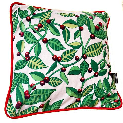Floral Leaves Berries Soft Velvet Cushion