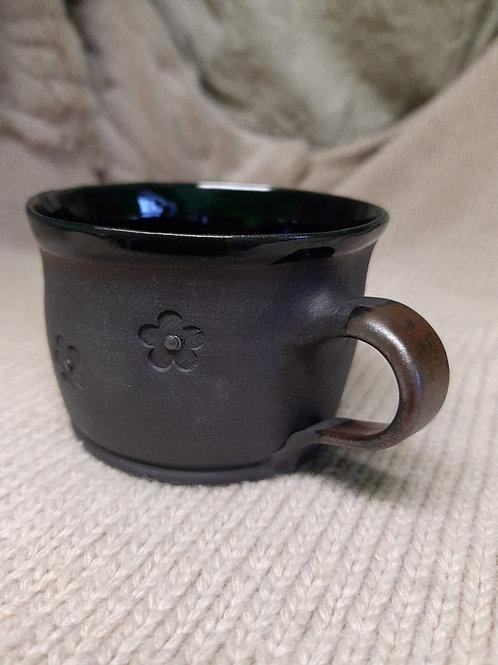 Černý porcelánový s kytkama