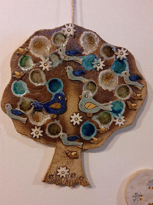 Strom do modra s ptáčky