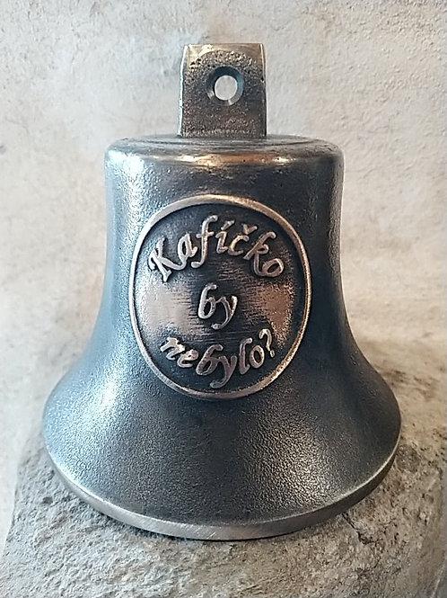 """Zvon Ital velký s reliéfem """"Kafíčko by nebylo?"""", Ø90mm"""