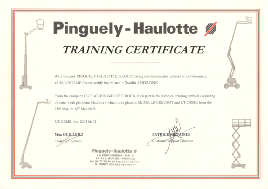 Training Certificate Haulotte France