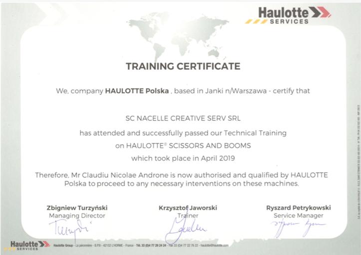 Haulotte Certificate