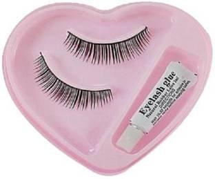 Imported Black Natural Thick Long False Eyelashes with Adhesive