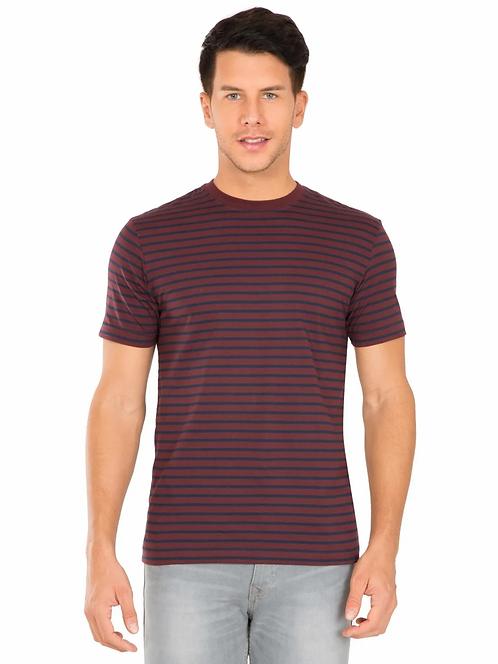 JACKEY Navy & Mauve Wine Crew neck T-shirt