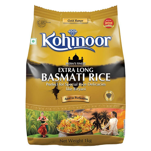 Kohinoor Gold India's Finest Extra Long Authentic Basmati Rice, 1 Kg Pack