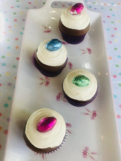 Chocolate Cupcakes, Vanilla Icing and an Easter Egg on top!