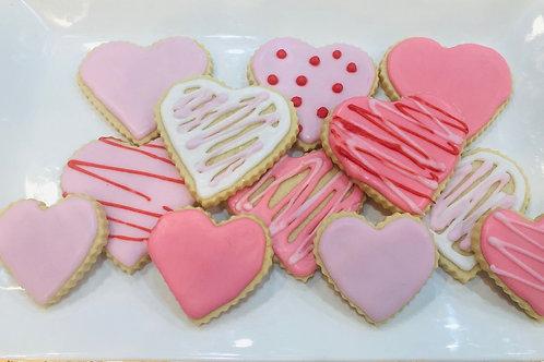 One dozen Sugar Cookie Hearts