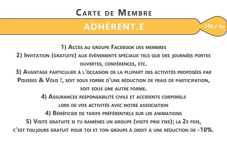 Carte de membre en reconnaissance - info