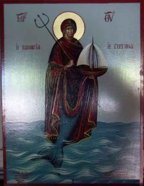 Икона Девы Марии в виде Панагии Горгоны. Дева Мария Русалка. Virgin Mary Panagia Gorgon