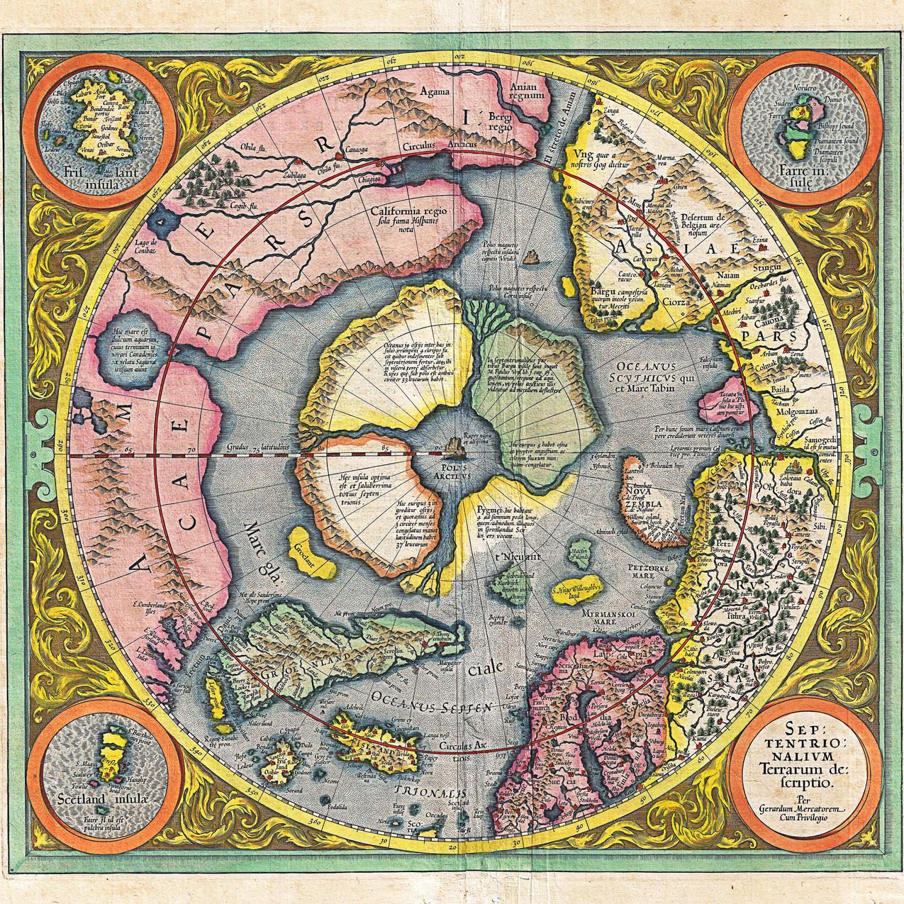 2!1606_Mercator_Hondius_Map_of_the_Arctic_(First_Map_of_the_North_Pole)_-_1628 Septentrionalium Terrarum Descriptio Per Gerardum Mercatorem Cum Privilegio