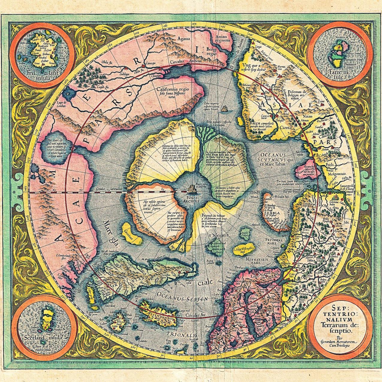 2!1606_Mercator_Hondius_Map_of_the_Arctic_(First_Map_of_the_North_Pole)_-_1628 Septentrionalium Terrarum Descriptio Per Gerardum Mercatorem Cum Privilegio_edited