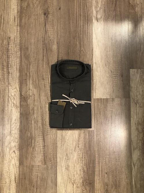 Camicia Coreana Verde Militare Outfit 100% Lino