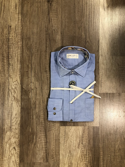 Camicia Azzurra Dettagli Fantasia Palloncini Slim Fit