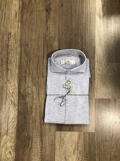 Camicia Azzurra Effetto Lino Microfantasia Comfort Fit