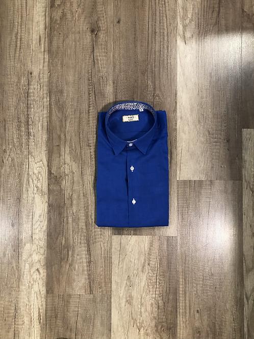 Camicia Lino Blu Slim Fit