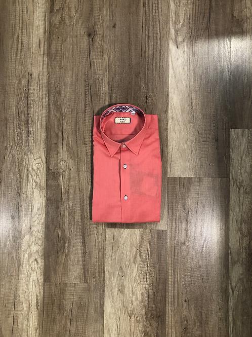 Camicia Lino Corallo Slim Fit