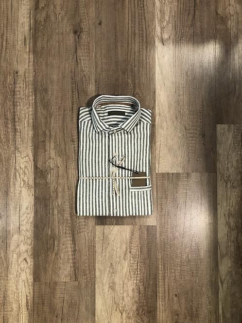 Camicia Fantasia Rigata Bianco Verde Outfit Misto Lino
