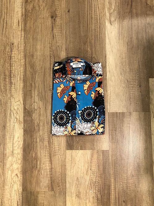 T-Camicia Over-D Coreana Stampata Azzurra-Nera