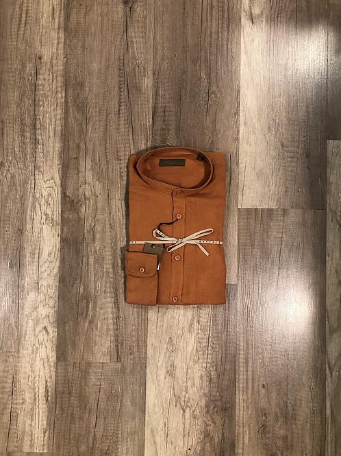 Camicia Coreana Mattone Outfit 100% Lino