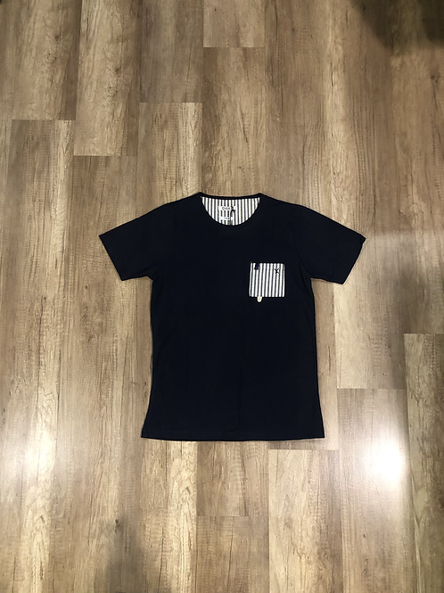 T-shirt Over-D Nera Con Taschino Stampato
