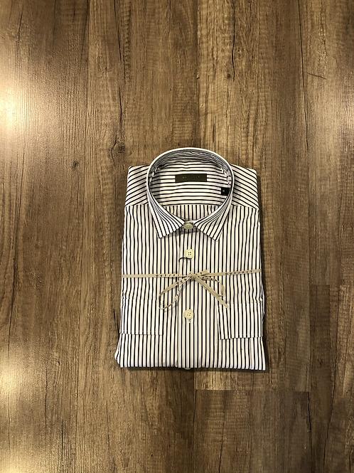 Camicia Outfit Gessata Bianco-Marrone