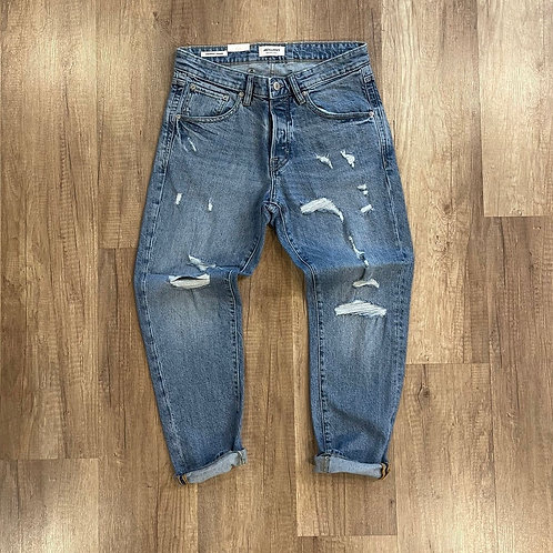 Jeans Jack And Jones Lavaggio Medio Strappato Cropped