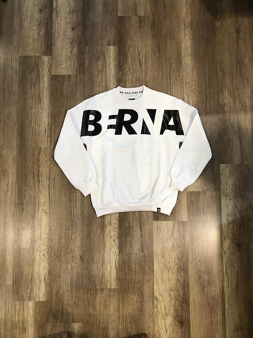 Felpa Berna Over Bianca Logo