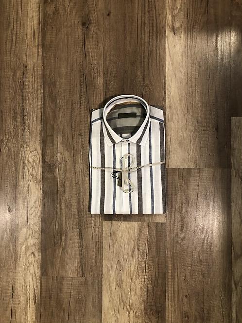 Camicia Bianca Fantasia Rigata Blu Marrone Outfit Misto Lino