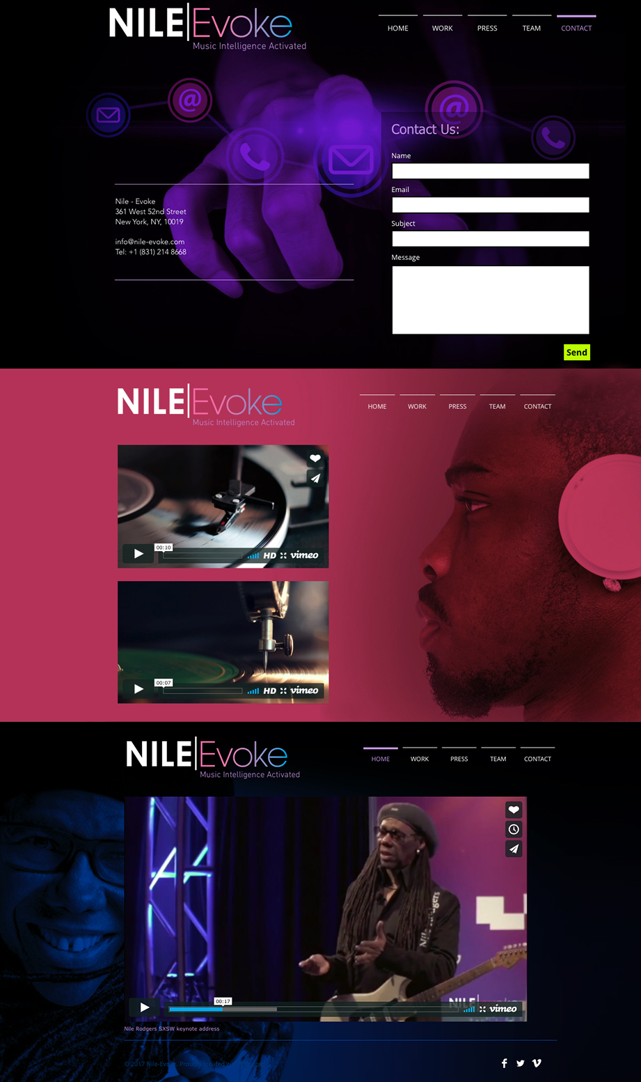 Nile-Evoke website design