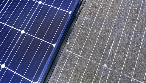 Photovoltaic cleaning, before and after.