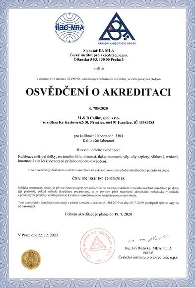 akreditovana kalibracni laborator osvedc